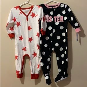 Bundle of 2 girls 18 month one piece pajamas 1 NWT